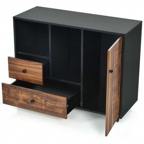 Lateral Mobile Filing Open Cabinet Large Printer Stand with 2 Drawers