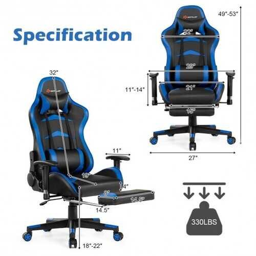 Massage Gaming Chair with Footrest-Blue - Color: Blue