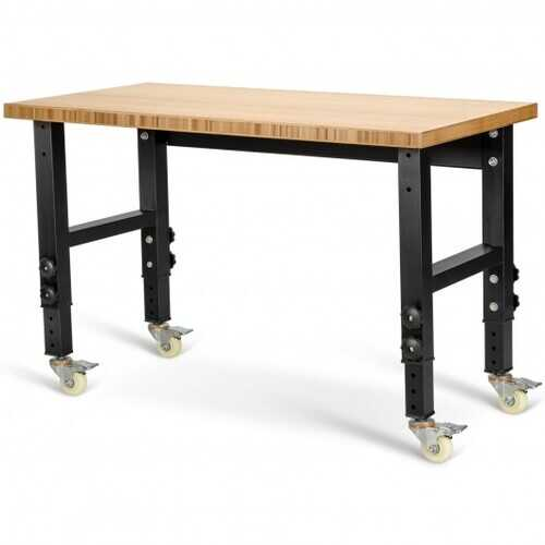 """48""""24"""" Adjustable Height Workbench Mobile Tool Bench Bamboo Top with Caster-Natural - Color: Natural"""