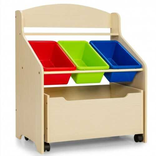 Kids Wooden Toy Storage Unit Organizer with Rolling Toy Box and Plastic Bins-Natural - Color: Natural