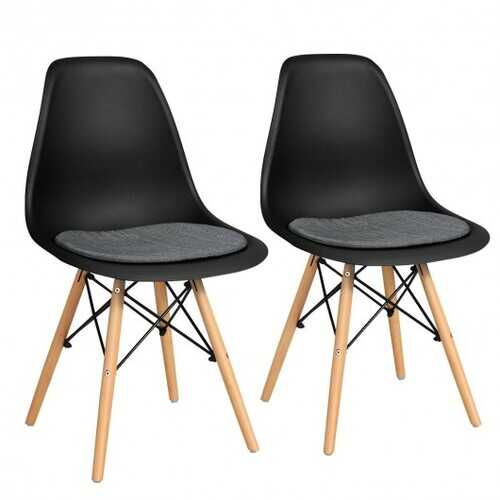 2Pcs Dining Chair Mid Century Modern DSW Chair Furniture-Black