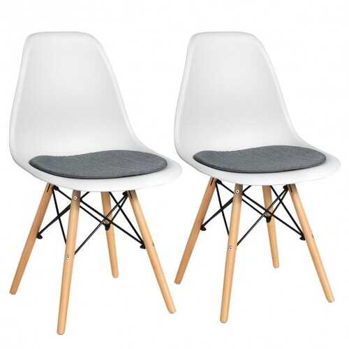 2Pcs Dining Chair Mid Century Modern DSW Chair Furniture-White
