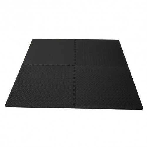 """12Tiles 1/2"""" Puzzle Exercise Floor Mats-Black - Color: Black"""