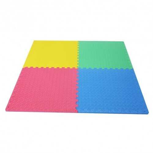 12 Pcs Kids Soft EVA Foam Interlocking Puzzle Play Mat for Exercise and Yoga -Color - Color: Multicolor