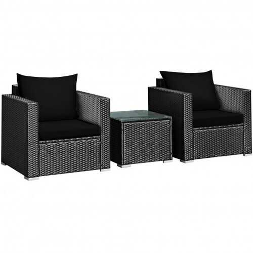 3 Pieces Patio wicker Furniture Set with Cushion-Black - Color: Black