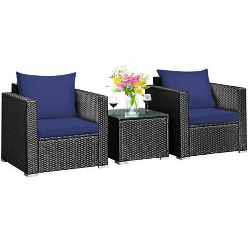 3 Pcs Patio wicker Furniture Set with Cushion-Navy - Color: Navy