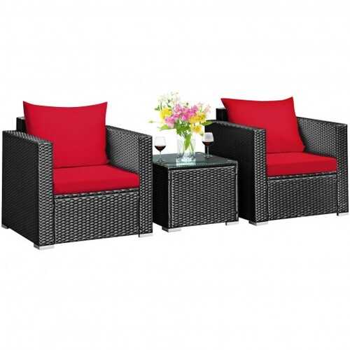 3 Pieces Patio wicker Furniture Set with Cushion-Red - Color: Red