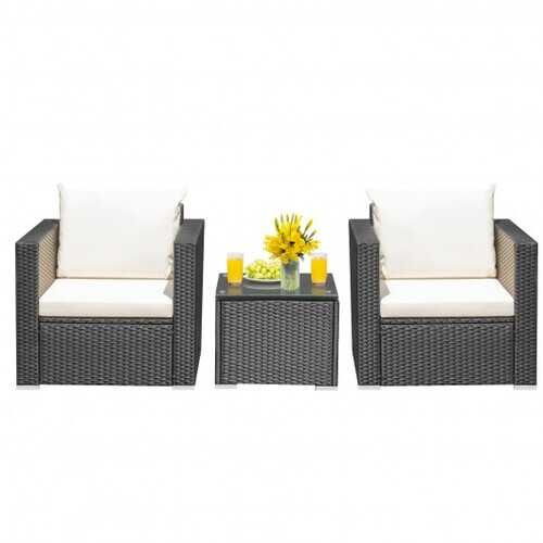 3 Pieces Patio wicker Furniture Set with Cushion-White - Color: White