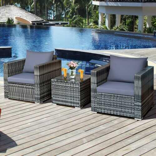 3 Pcs Patio Rattan Furniture Bistro Set with Cushioned Sofa