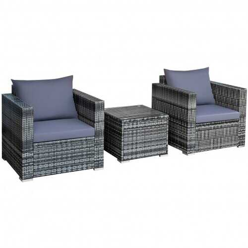 3 Pcs Patio Rattan Furniture Bistro Sofa Set with Cushioned-Gray - Color: Gray