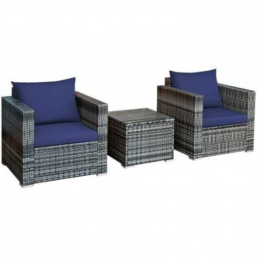 3 Pcs Patio Rattan Furniture Bistro Sofa Set with Cushioned-Navy - Color: Navy