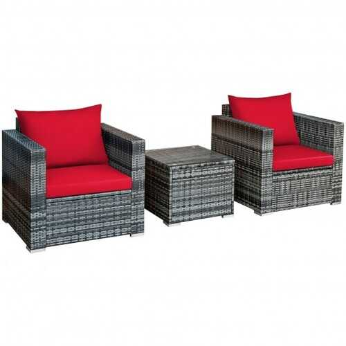 3 Pcs Patio Rattan Furniture Bistro Sofa Set with Cushioned-Red - Color: Red