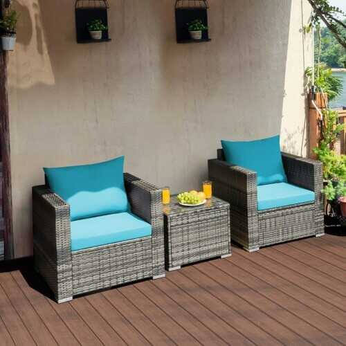 3 Pieces Patio Rattan Furniture Bistro Sofa Set with Cushioned-Turquoise - Color: Turquoise