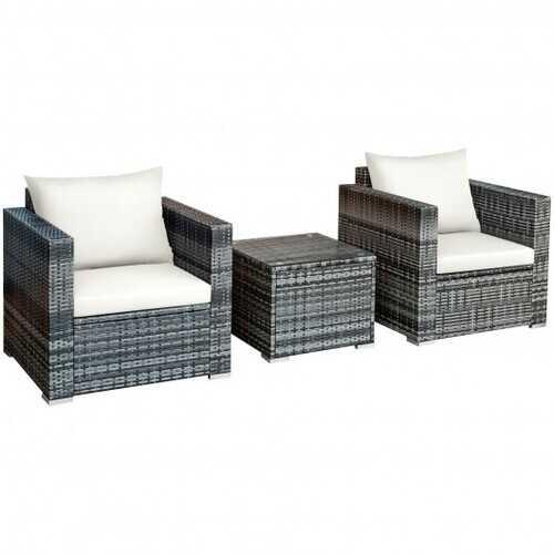 3 Pcs Patio Rattan Furniture Bistro Sofa Set with Cushioned-White - Color: White