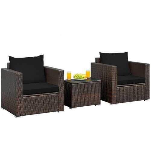 3 Pcs Patio Conversation Rattan Furniture Set with Cushion-Black - Color: Black