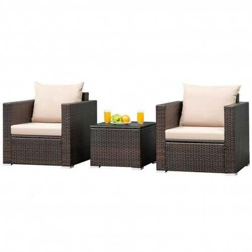 3 Pcs Patio Conversation Rattan Furniture Set with Cushion - Color: Beige