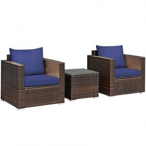 3 Pcs Patio Conversation Rattan Furniture Set with Cushion-Blue - Color: Blue