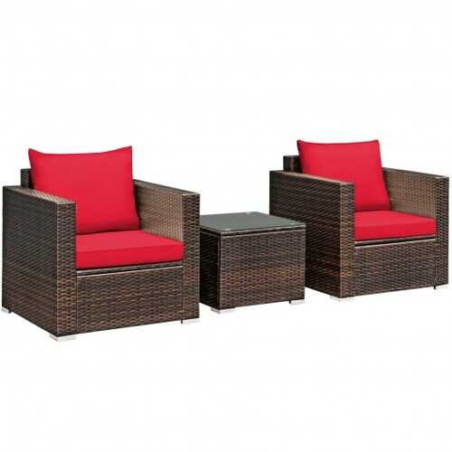 3 Pcs Patio Conversation Rattan Furniture Set with Cushion-Red - Color: Red
