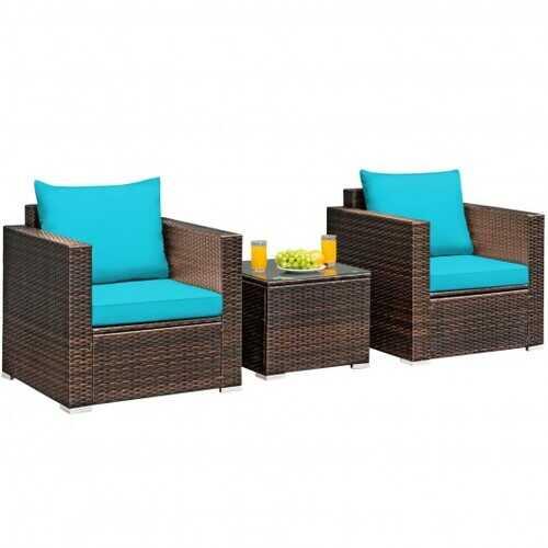 3 Pcs Patio Conversation Rattan Furniture Set with Cushion-Turquoise - Color: Turquoise