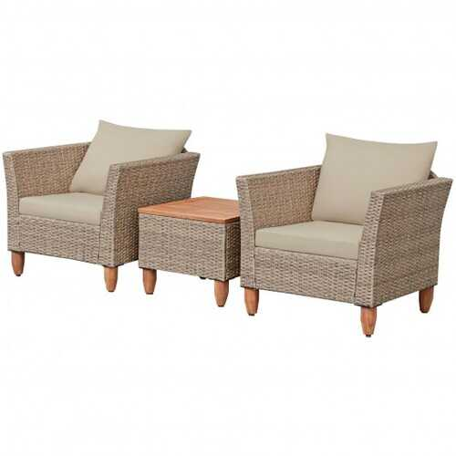 3 Pcs Outdoor Patio Rattan Furniture Set Wooden Table Top Cushioned Sofa - Color: Beige