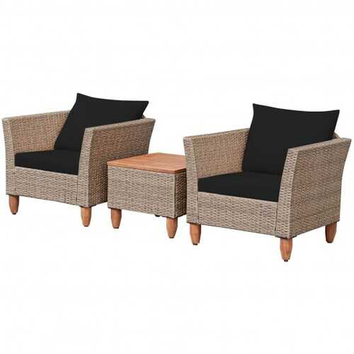 3 Pieces Patio Rattan Bistro Furniture Set-Black - Color: Black