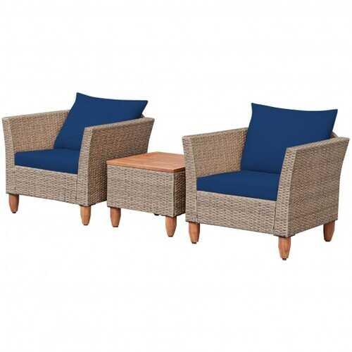 3 Pieces Patio Rattan Bistro Furniture Set-Navy - Color: Navy