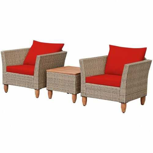 3 Pieces Patio Rattan Bistro Furniture Set-Red - Color: Red