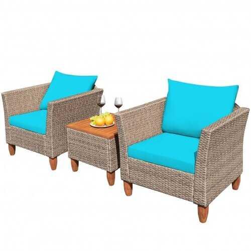 3 Pieces Patio Rattan Bistro Furniture Set-Turquoise - Color: Turquoise