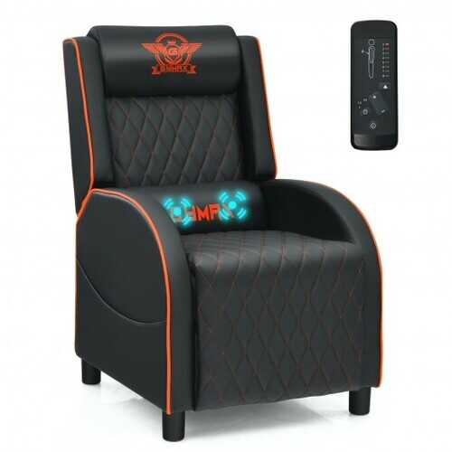 Massage Gaming Recliner Chair with Headrest and Adjustable Backrest for Home Theater-Orange - Color: Orange
