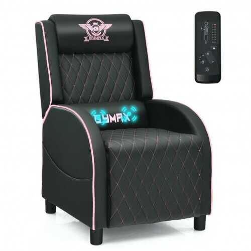 Massage Gaming Recliner Chair with Headrest and Adjustable Backrest for Home Theater-Pink - Color: Pink