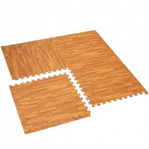 12PC Wood Grain Interlocking Floor Mats -Natural - Color: Natural