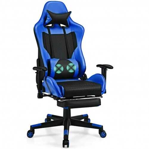 PU Leather Gaming Chair with USB Massage Lumbar Pillow and Footrest -Blue - Color: Blue
