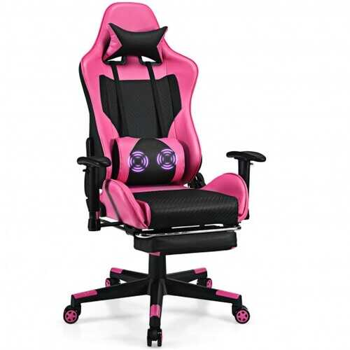 PU Leather Gaming Chair with USB Massage Lumbar Pillow and Footrest -Pink - Color: Pink
