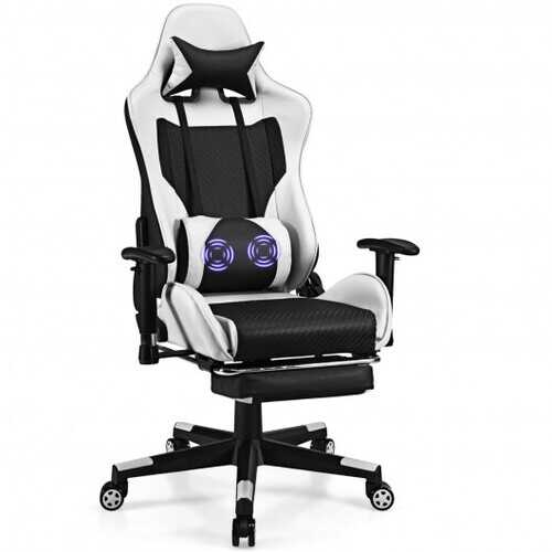PU Leather Gaming Chair with USB Massage Lumbar Pillow and Footrest-White - Color: White