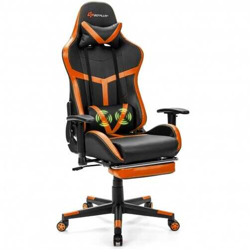 Reclining Racing Chair with Lumbar Support Footrest-Orange - Color: Orange