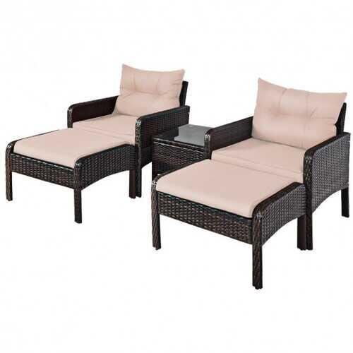 5 Pcs Patio Rattan Wicker Sofa Furniture Set  - Color: Beige