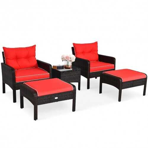 5 Pcs Patio Rattan Sofa Ottoman Furniture Set with Cushions-Red - Color: Red