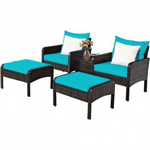 5 Pcs Patio Rattan Furniture Set Sofa - Color: Turquoise