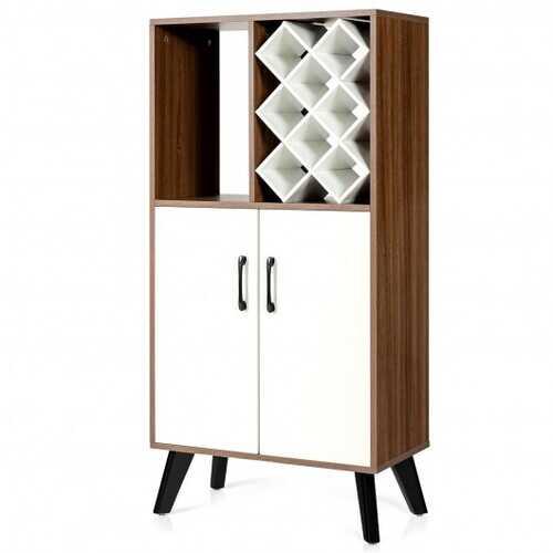 Bar Cabinet Wooden Buffet Sideboard Storage Cupboard with Wine Rack  - Color: Walnut