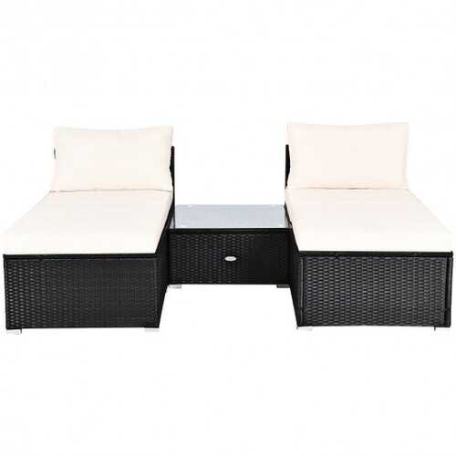 5 PCS Patio Rattan Wicker Furniture Set with Cushions - Color: White