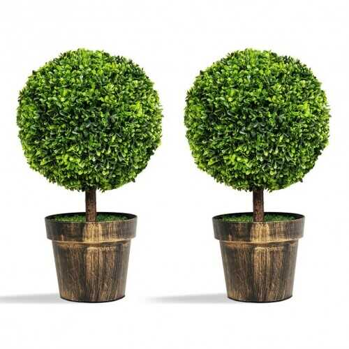 """2 PCS 24"""" Artificial Boxwood Topiary Ball Tree - Color: Green"""