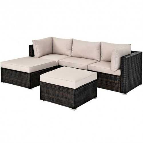 5 Pcs Patio Rattan Sofa Set with Cushion and Ottoman-Beige - Color: Beige