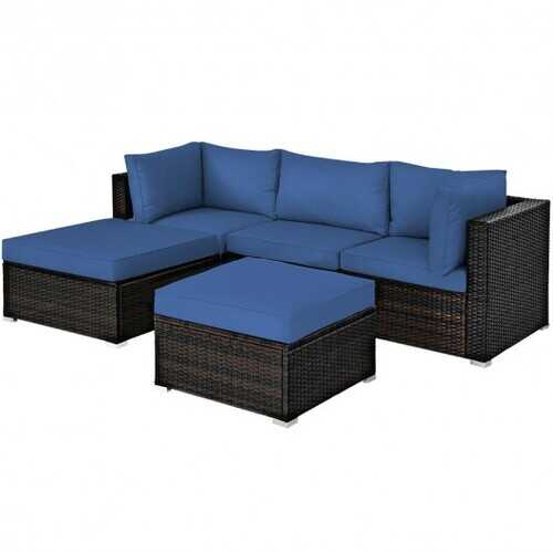 5 Pcs Patio Rattan Sofa Set with Cushion and Ottoman-Navy - Color: Navy