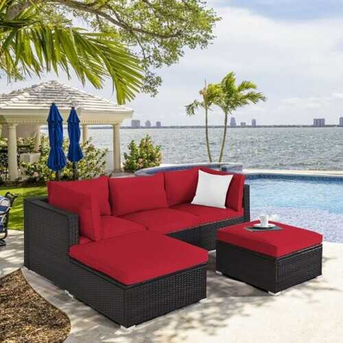 5 Pcs Patio Rattan Sofa Set with Cushion and Ottoman-Red - Color: Red