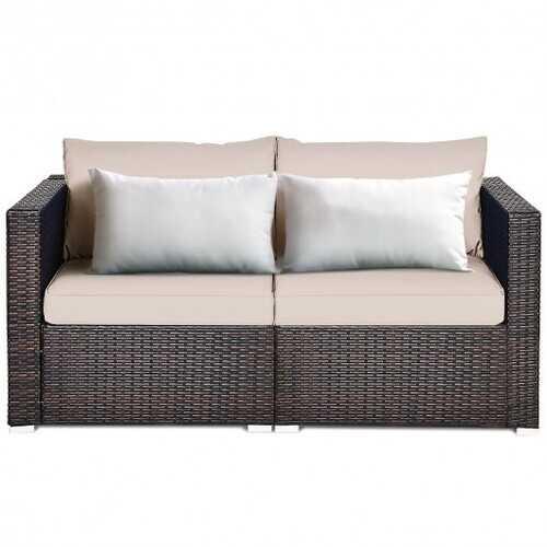 2PCS Patio Rattan Sectional Conversation Sofa Set-Beige - Color: Beige