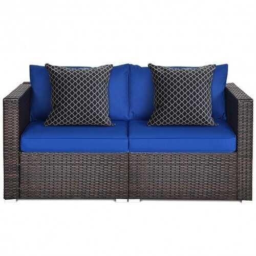 2PCS Patio Rattan Sectional Conversation Sofa Set-Navy - Color: Navy