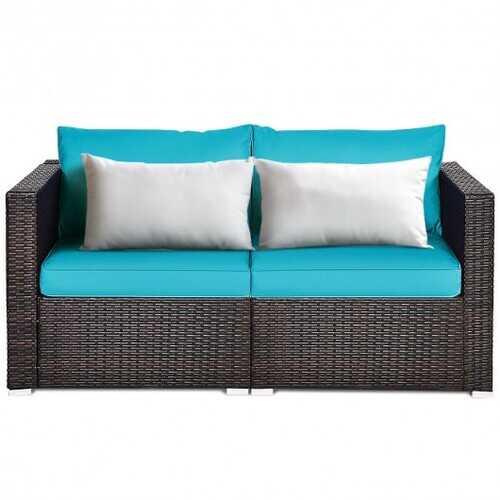 2PCS Patio Rattan Sectional Conversation Sofa Set-Blue - Color: Blue