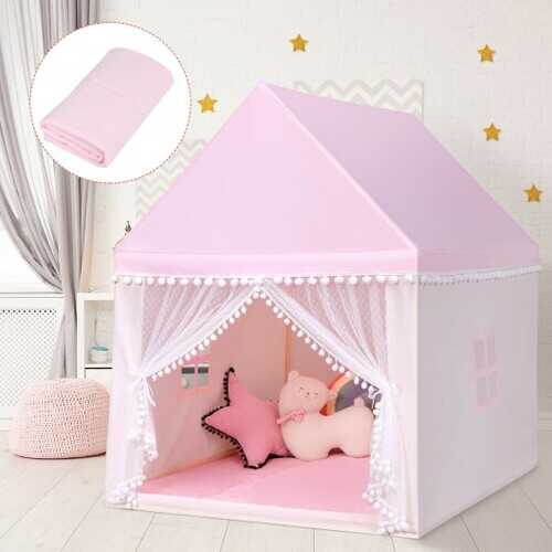 Kids Play Tent Large Playhouse Children Play Castle Fairy Tent Gift with Mat-Pink - Color: Pink