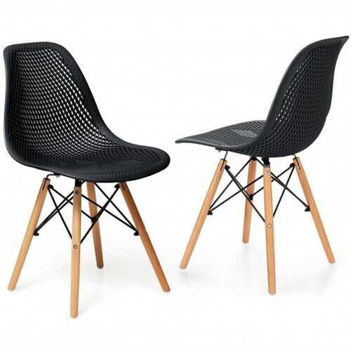 2 Pcs Modern Plastic Hollow Chair Set with Wood Leg-Black - Color: Black