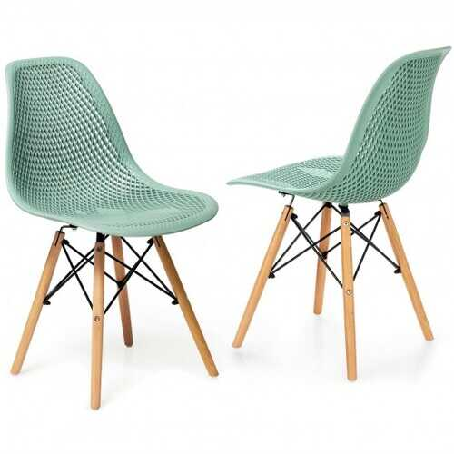 2 Pcs Modern Plastic Hollow Chair Set with Wood Leg-Green - Color: Green